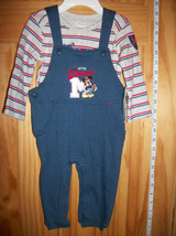 DISNEY Baby Clothes 6M-9M Mickey Mouse Overall Set BLUE Little Champ Bod... - $14.24