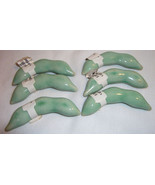 6 Chop Stick Rests Pea Pods Ceramic Green Glaze World Market NEW - $12.99