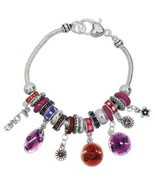 Charm Bracelet LOVE Theme Beads Silver Plated 60s Inspired Jewelry - $14.84