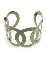 Cuff Bracelet Open Circle Layered Design Rhodium Plated Silver - $14.84