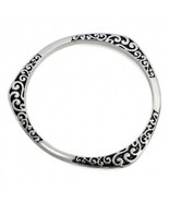 Bangle Bracelet Antique Silver Plated Swirl Trinity Pattern Fashion Jewelry - $14.84