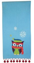 Embroidered Holiday Winter Owl Kitchen Towel or Guest Towel Split P - $9.88