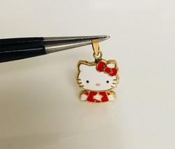 14K Yellow Gold Enamel Hello Kitty Baby Half Body Pendant Red - $93.48