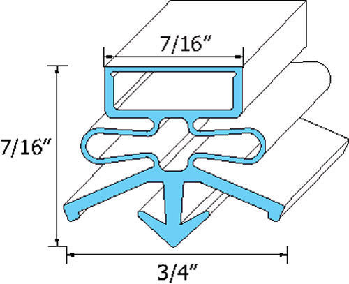 "DOOR GASKET 25 7/8"" X 28 1/2"" Rubber Snap-In Mount for True Refrigerator 741062"