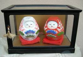 Vintage pair Japanese KAGA Dolls red and white roly poly signed in glass... - $55.00
