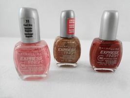 Maybelline NY Express Finish Lot 3 Nail Polish Passing Pink Bronze Drago... - $23.03
