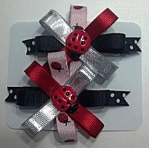 "Hair Bows - 2-1/4"" Ladybug Red, Black, Pink, Silver - $6.99"