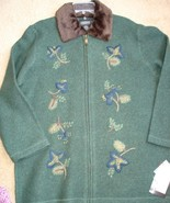 NWT XL Pine / Forest Green Coat 100% Wool Boucle with embroidery Zipper ... - $69.99