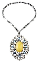 1950s Napier BOOK PIECE Cabochon Pendant Runway Couture Necklace - $150.00