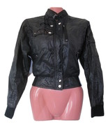 1980 vintage black cropped members jacket size extra small xs 2 4 nylon ... - $19.99