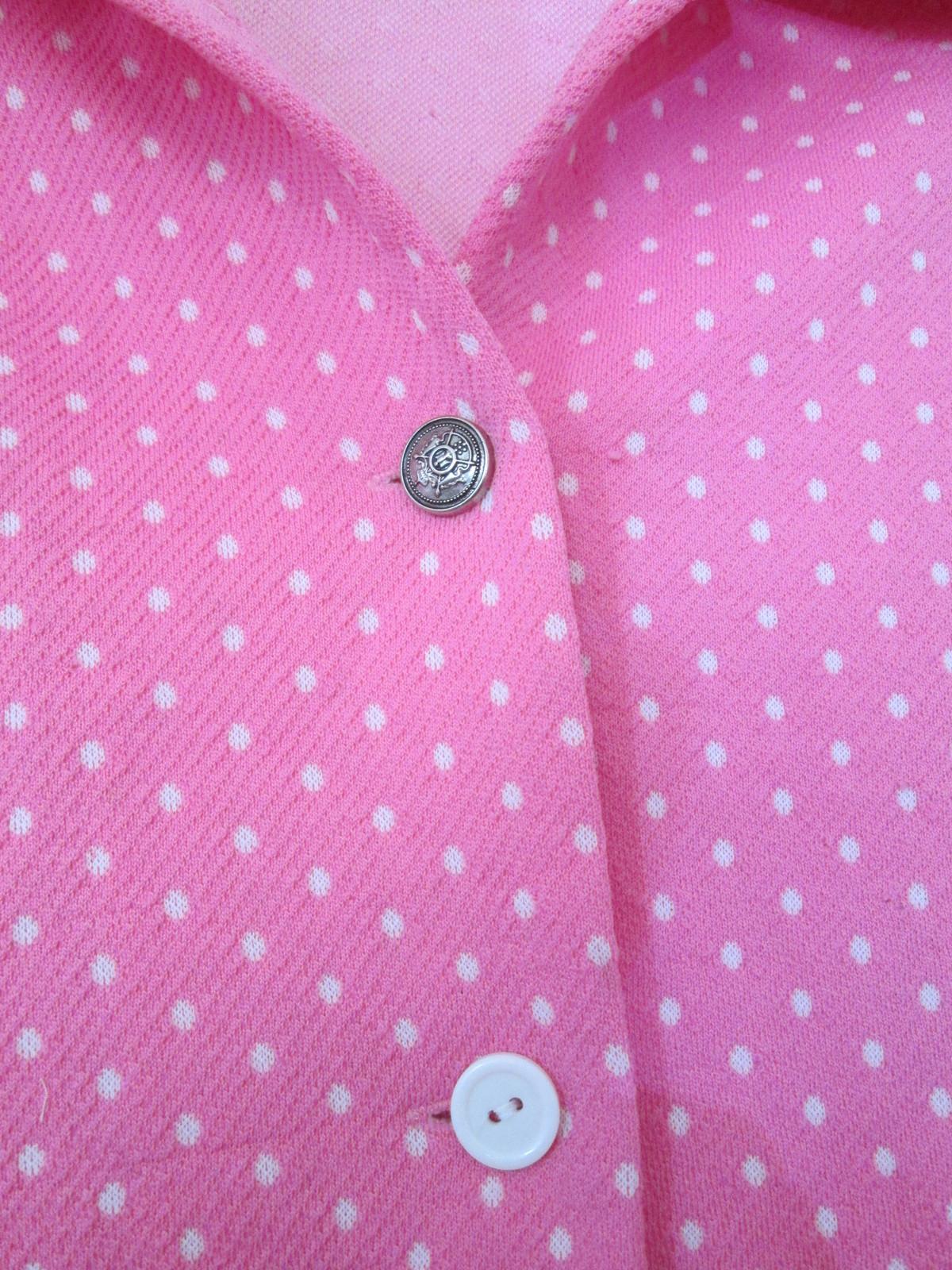 1970s vintage hot pink polkadot polyester jacket size large 8 10