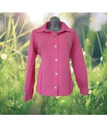 1970s vintage hot pink polkadot polyester jacket size large 8 10 - $29.99