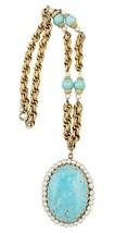 1960s Napier Faux-Turquoise Locket Runway Couture Necklace - €177,69 EUR