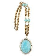 1960s Napier Faux-Turquoise Locket Runway Coutu... - $210.00