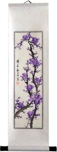 Purple Blossoms Chinese Scroll Paintings