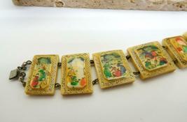Vintage Hand Painted Oxen Bone Persian Story Panel Bracelet N24 image 3