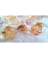 Vintage Lucite Signed Japan Bead Necklace & Earrings Demi Pastel Pink Peach - $16.50