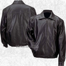 Mens Lined Solid Black Genuine Leather Bomber Style Casual Jacket Coat Z... - $46.99+