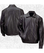 Mens Lined Solid Black Genuine Leather Bomber Style Casual Jacket Coat Z... - $52.89