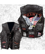 Mens Black Leather Motorcycle Vest Waistcoat with 14 Biker-Style Patches... - $25.99+