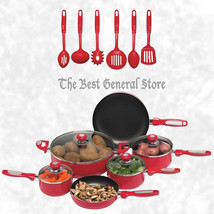 16pc Red Pots and Pans Aluminum Cookware Set Non-Stick with Vented, Glas... - $69.99