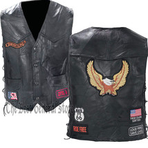 Black Leather Motorcycle Riding Vest with Eagle and Biker Patches Lace U... - $23.70