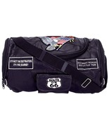 Black Leather Motorcycle Barrel Bag with Patches Live to Ride Luggage LINED - $24.95