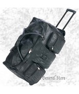 "25"" Black Leather Rolling Duffle Gym Bag Luggage Trolley Tote with Wheels - $52.87"