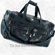 """24"""" Black Leather Tote Bag Duffle Gym Luggage Overnight Multiple Pockets... - $42.98"""