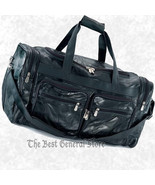 "24"" Black Leather Tote Bag Duffle Gym Luggage Overnight Multiple Pockets... - $42.98"