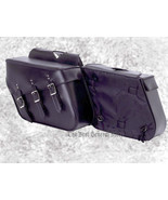 2pc Lined Heavy-Duty Waterproof PVC Slanted Motorcycle Saddlebag Set Lug... - $96.98