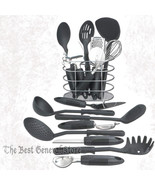 17pc Kitchen Utensil Set with Basket Tool Set Cooking Gadgets Black & St... - $37.89