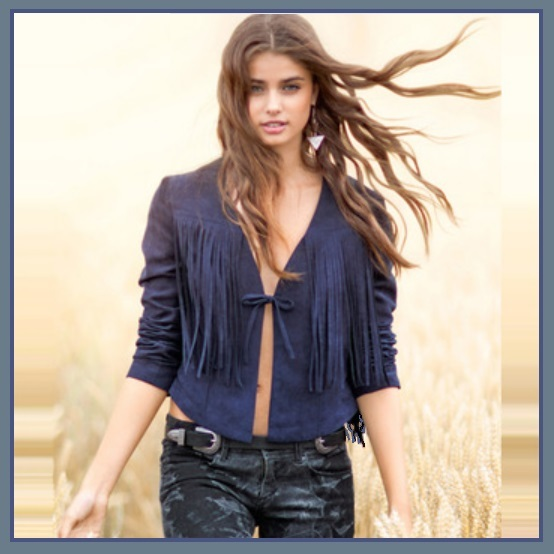 Navy or Cream Long Tassel Fringe Suede Leather Loose Open Fashion Coat Jacket