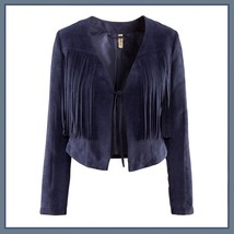 Navy or Cream Long Tassel Fringe Suede Leather Loose Open Fashion Coat Jacket  image 2