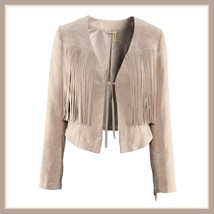 Navy or Cream Long Tassel Fringe Suede Leather Loose Open Fashion Coat Jacket  image 3