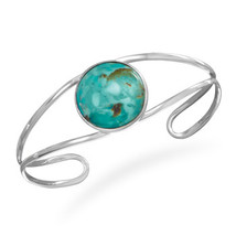 Sterling Silver Open Cuff Bracelet with Turquoise - $134.95
