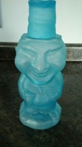 Tiara Indiana Glass Blue Frosted Jolly Mountaineer Decanter Vintage - $45.00