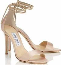 NEW JIMMY CHOO Reign Pink (Dusty Rose) Satin Tie Sandals (Size 38.5) - $... - $249.95