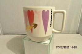 Starbucks Watercolor Hearts Gold Arrows Valentines Day Coffee Tea Mug 2016 - $12.19