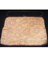 Evening Bag WALBORG Clutch Beaded Cream w/ Strap & Clear Rhinestone Clasp - $44.54