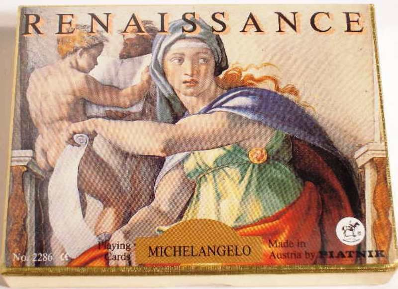 Playing Cards Double Deck Canasta PIATNIK Renaissance Michelangelo Austria NEW - $14.84