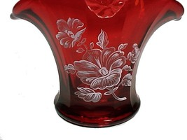 69958a ruby red glass basket with white snow flowers thumb200