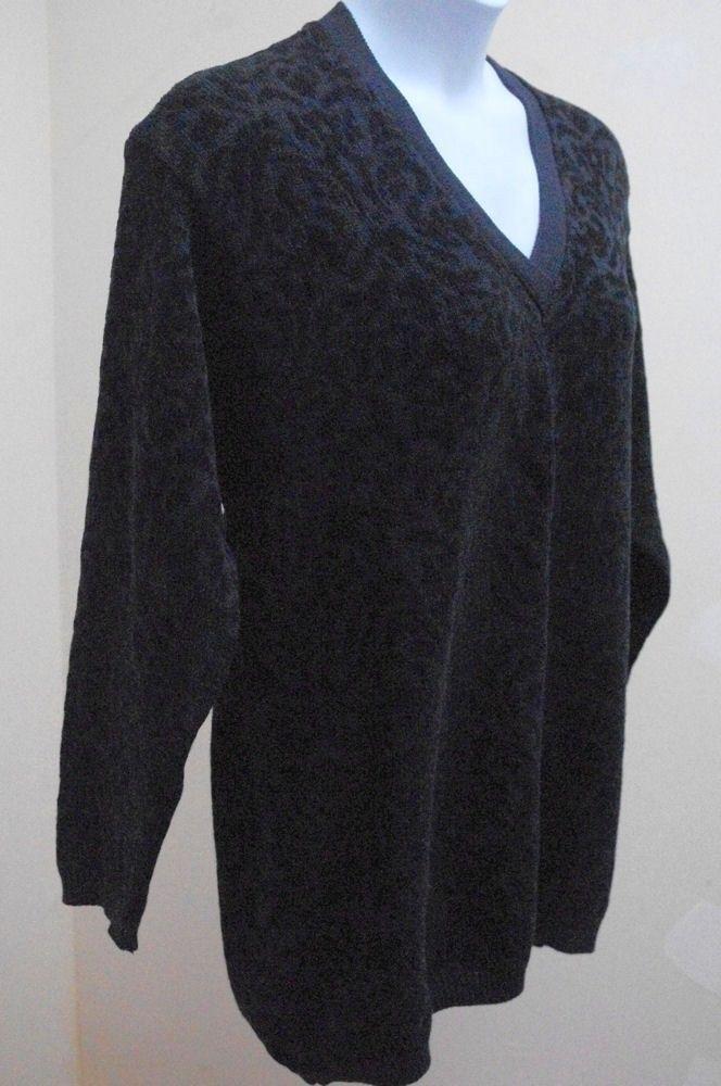 Elisabeth Liz Claiborne Plus Size 1X Black Sweater V Neck Long Sleeve Pullover