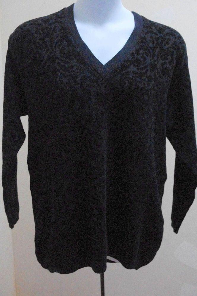 Elisabeth Liz Claiborne Plus Size 1X Black Sweater V Neck Long Sleeve Pullover image 2