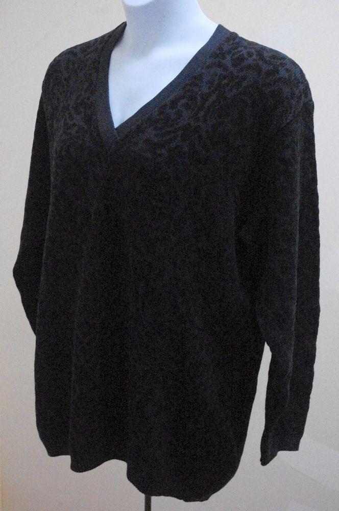 Elisabeth Liz Claiborne Plus Size 1X Black Sweater V Neck Long Sleeve Pullover image 3
