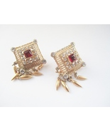 Coro Faux Garnet Fringe Earrings 1940s. - $18.00