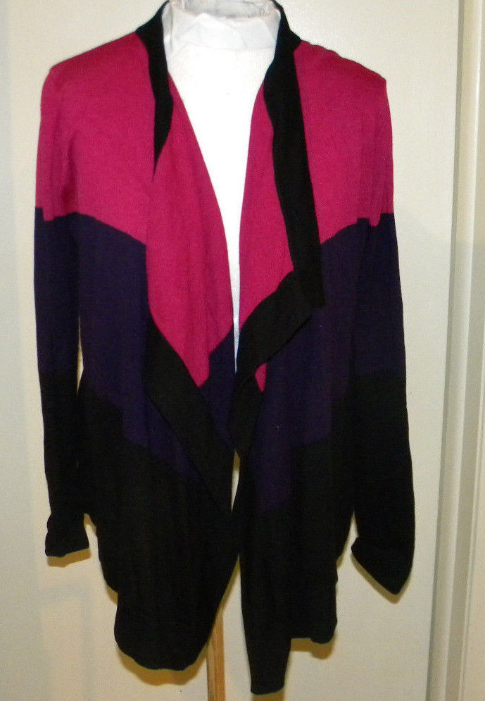 Primary image for DKNY Mauve Pink BLACK Cotton Open Front Long sleeve Cardigan Sweater S M