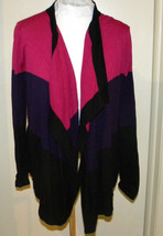 DKNY Mauve Pink BLACK Cotton Open Front Long sleeve Cardigan Sweater S M - $19.99