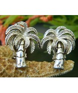Vintage Palm Tree Earrings Tropical Clips Silver Tone Best Jewelry - $17.95