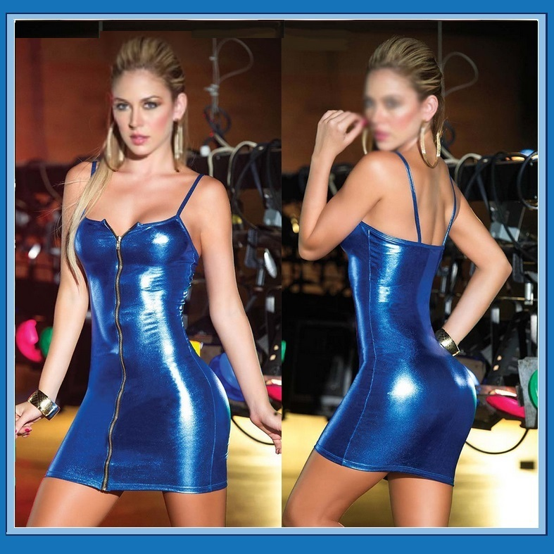Primary image for  Faux Pleather Front Zip Up Mini Club Dress Comes 2 Colors With Spaghetti Straps